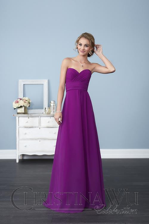 Chiffon lace long bridesmaid dress.