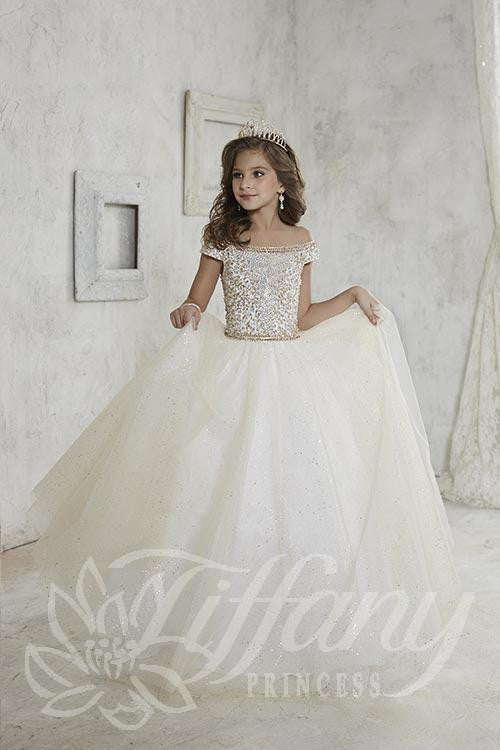 US Girls Princess Dress Glittery Tulle Maxi Pageant Wedding Bridesmaid Prom Gown