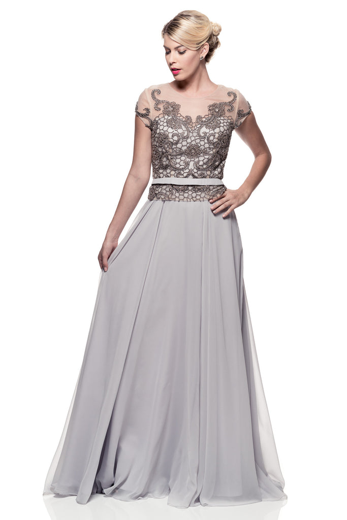 Mother Of The Bride Lace satin chiffon Long Gown Dress.