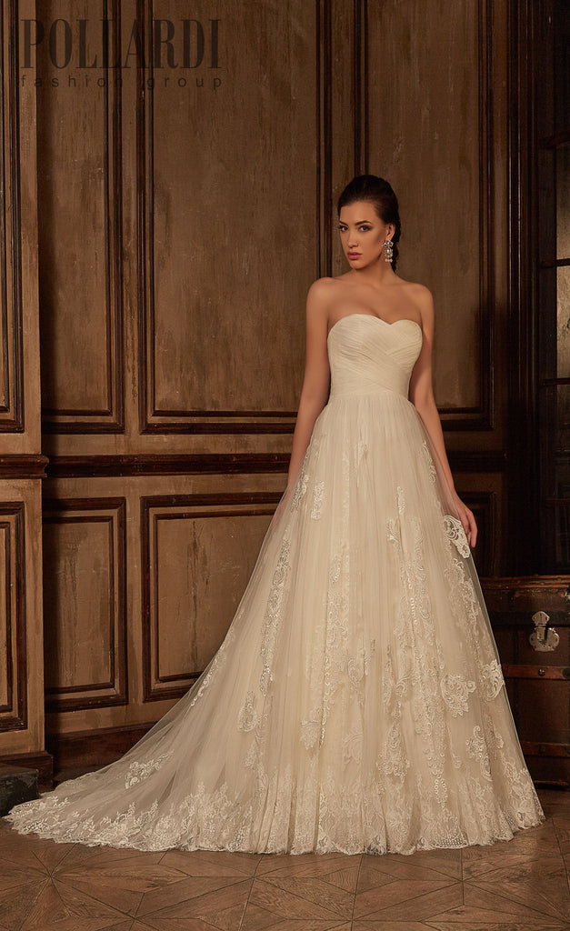 Beaded lace strapless ball gown A-Line Wedding Dress