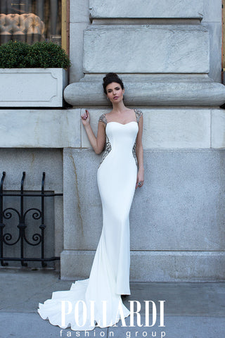 Designer Long Jersey Beaded Wedding/Evening Dresses