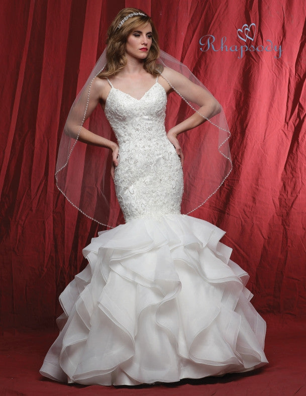 Lace beading ruffle mermaid wedding dress