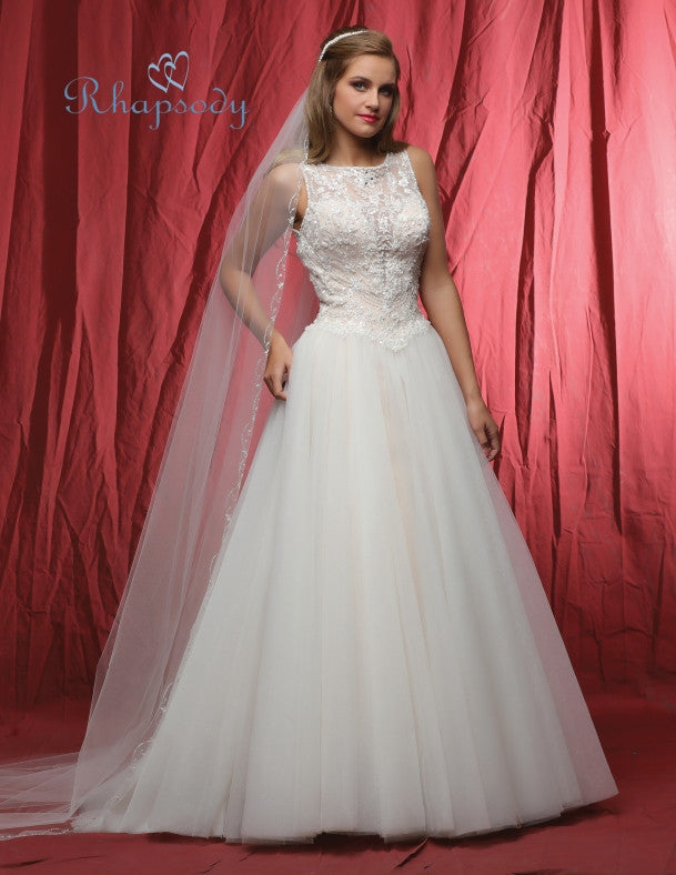 Lace beading A-line ball gown wedding dress