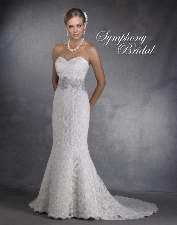 Lace beading fit & flare  wedding dress