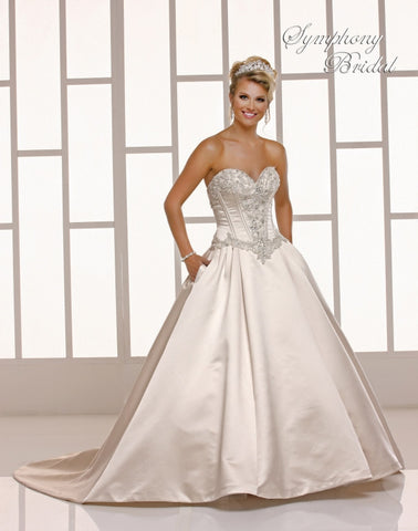beaded A-line ball gown wedding dress