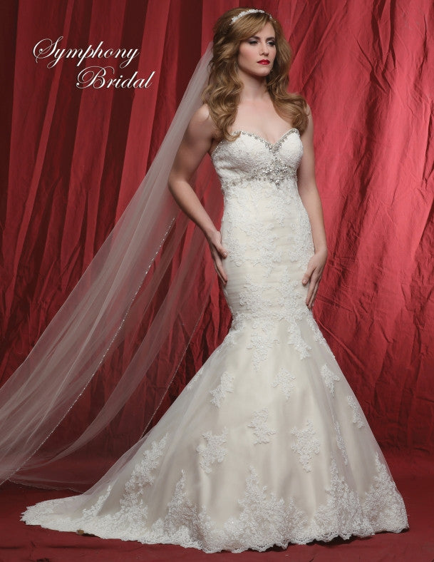 Lace beaded mermaid  wedding dress