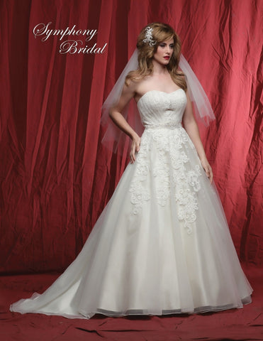 Lace beaded A-line ball gown wedding dress