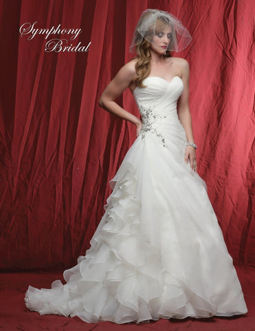 Organza beaded TRUMPET wedding dress