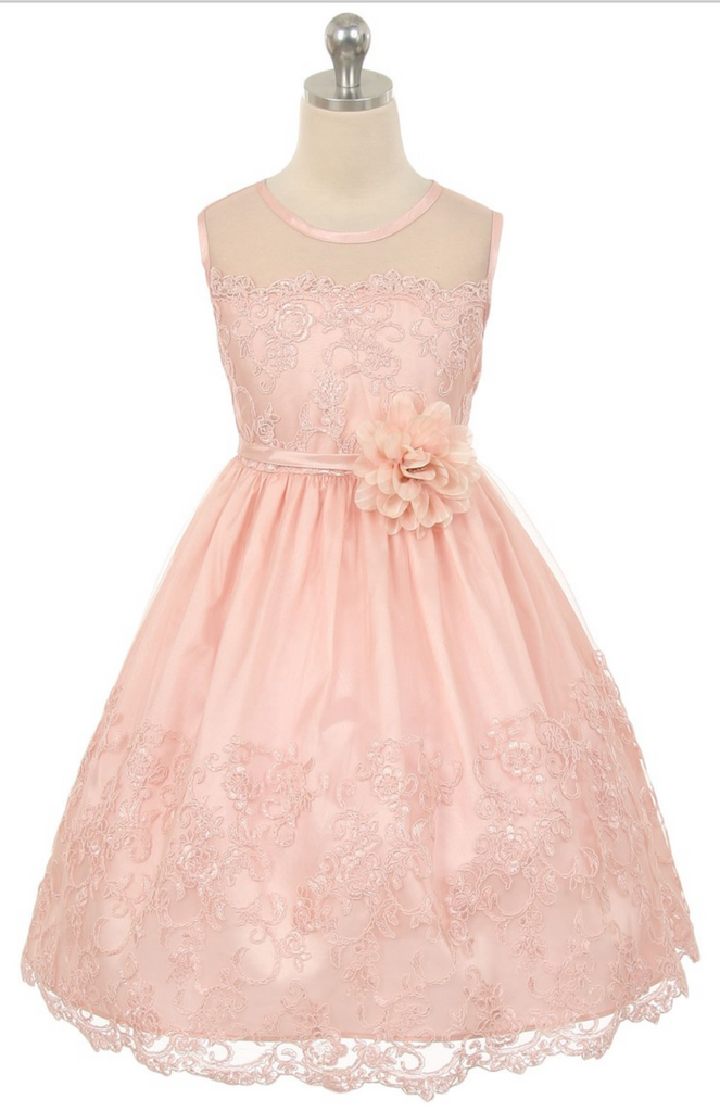 Flower girl communion lace beaded chiffon dresses