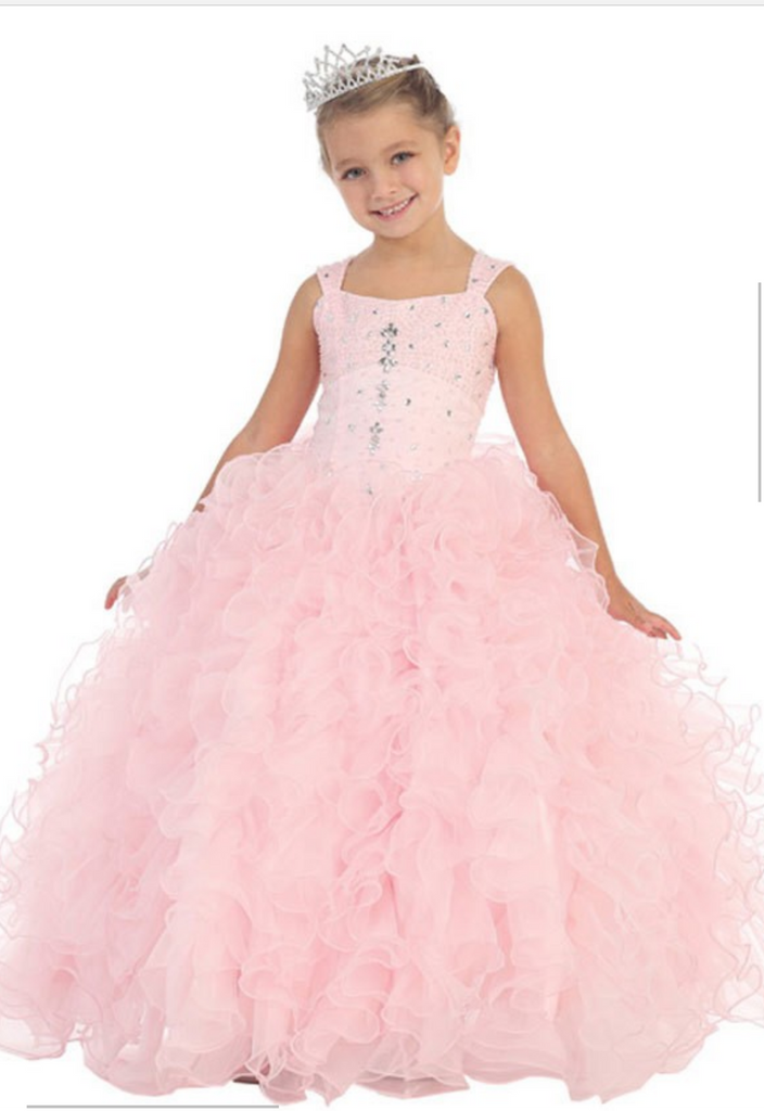 Pageant, princess, flower girl Tiffany dresses, pink gown