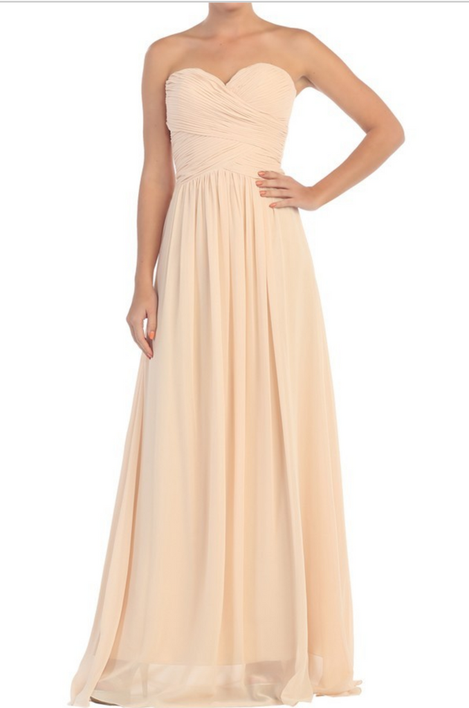 Chiffon lace sleeve long bridesmaid dress.