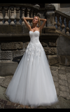 Lace tulle white ivory princess ball gow lace A-Line wedding dress