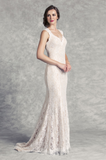 Fit and Flare Lace Wedding Dress with Keyhole