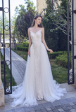 Beach lace chiffon satin pearl A-line wedding dress