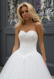 Lace tulle white ivory princess ball gow lace A-Line wedding dress..