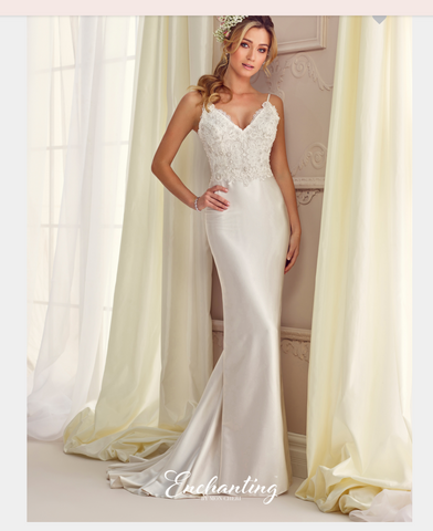 Designer lace satin tulle wedding dress..