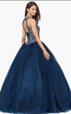 Quinceanera, sweet 16, engagement ball gown dress royal blue
