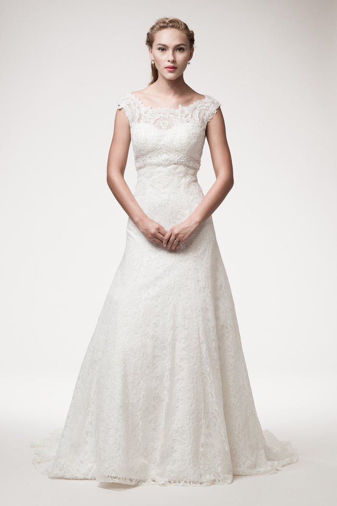 Wedding dress lace A-line ball gown SHORT SLEEVE, EMPIRE WAIST ...
