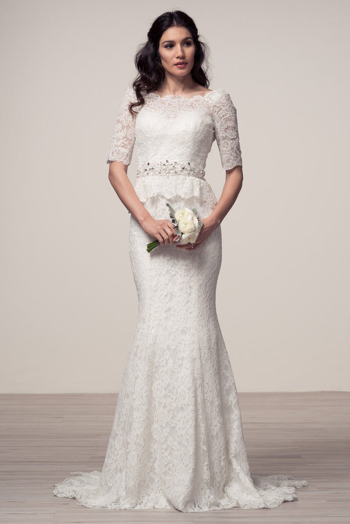 2c59ced50b69 Wedding dress lace 3/4 SLEEVE, BATEAU NECK, MERMAID – Bela Bridal