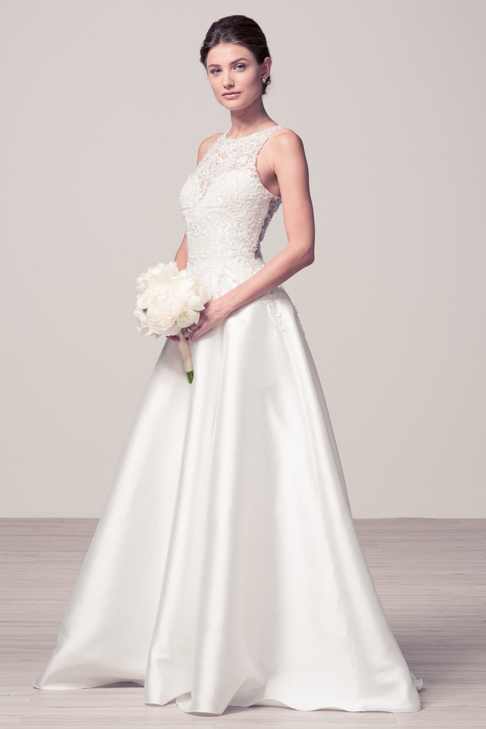 Wedding dress lace A-line ball gown SCOOP NECK, SLEEVELESS, A-LINE