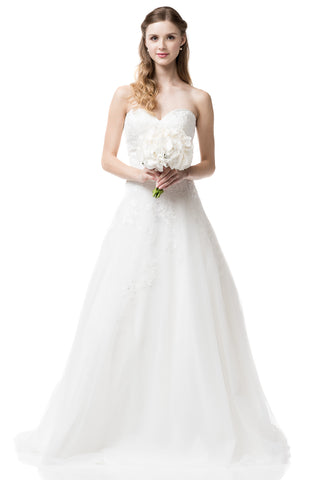 Wedding dress lace A-line ball gown STRAPLESS, SWEETHEART NECK, A-LINE