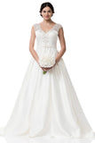 Wedding dress lace A-line ball gown CAP SLEEVE, V-NECK, A-LINE