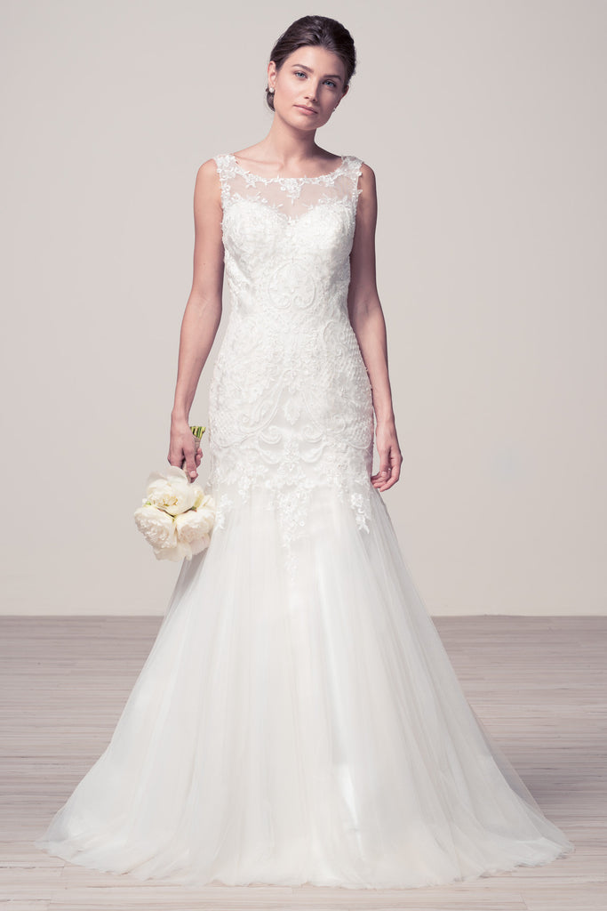 Wedding dress lace BATEAU NECK, SLEEVELESS, MERMAID