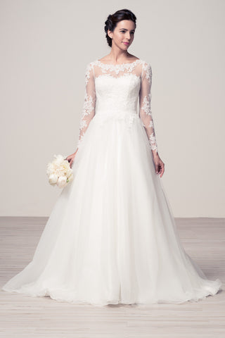 Wedding dress lace BATEAU NECK, LONG SLEEVE, A-LINE