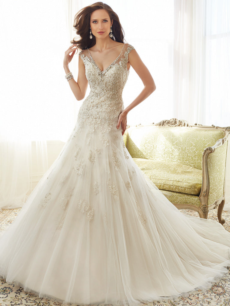 Sophia Tolli satin Wedding Dress tulle lace A-line trumpet.