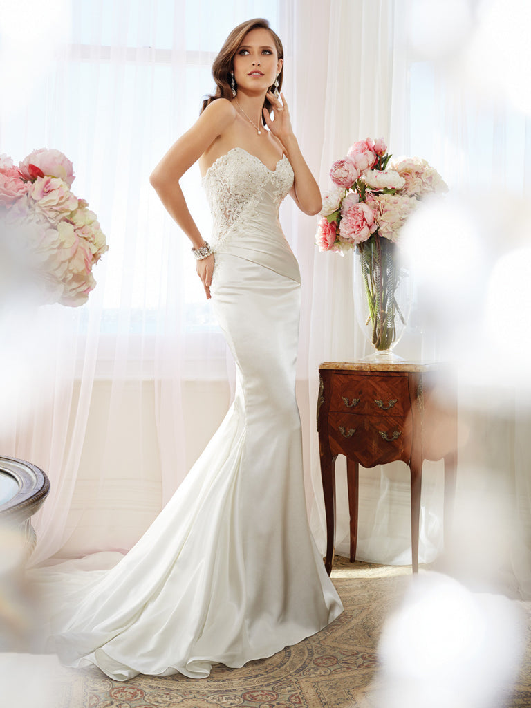 Sophia Tolli Wedding Dress Satin Lace Mermaid Trumpet With Strapless Sweetheart Neckline Gown