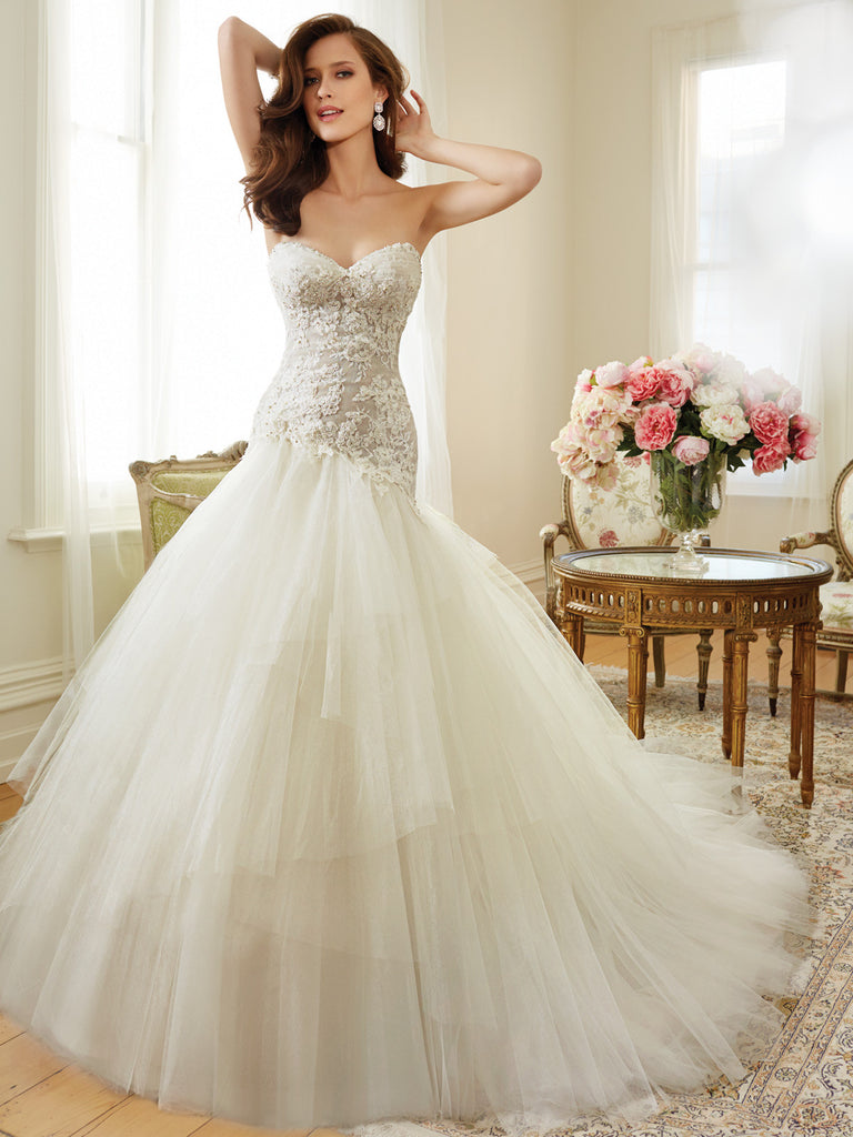Sophia Tolli A-line Wedding Dress tull and lace mermaid trumpet ball gown