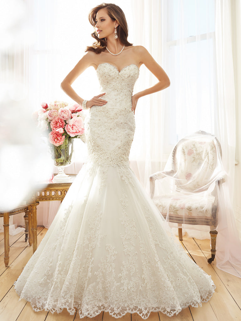 Sophia Tolli Strapless Sweetheart Neckline Wedding Dress Lace And Tulle Mermaid Trumpet Ball Gown