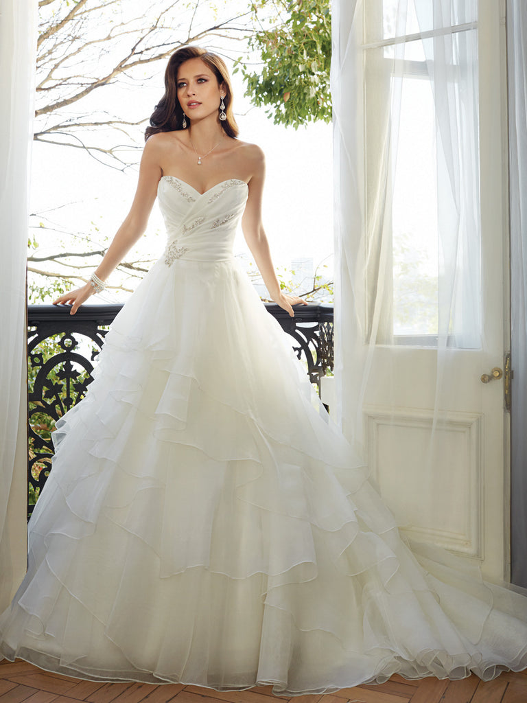 Sophia Tolli Wedding Dress organza, strapless sweetheart neckline ball gown
