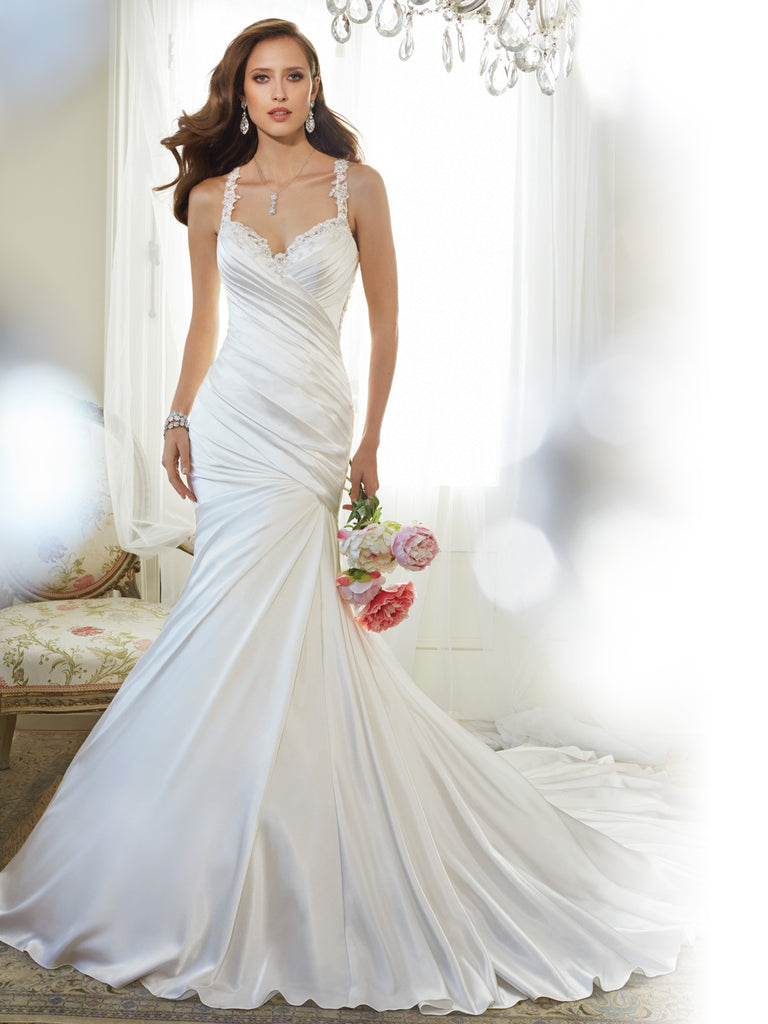 Sophia Tolli, sweetheart neckline and shoulder straps  Wedding Dress satin, mermaid trumpet gown