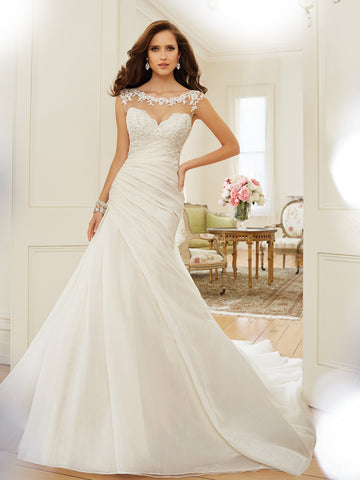 Sophia Tolli A-line illusion tulle neckline Wedding Dress, lace over satin gown