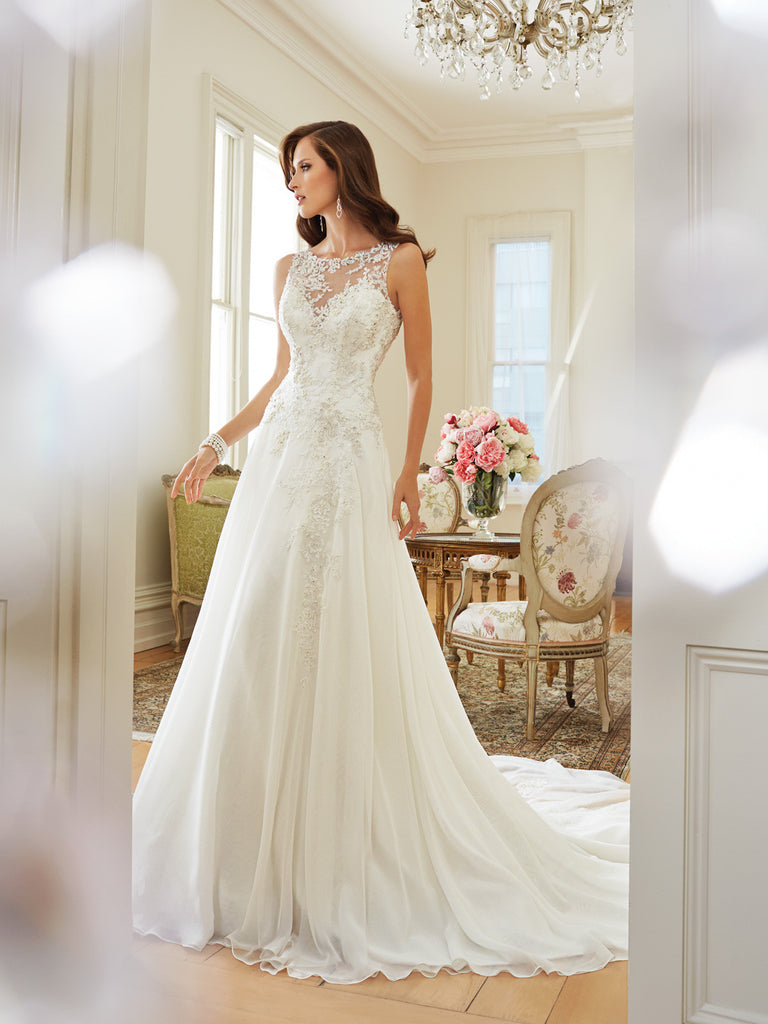 Sophia Tolli A Line Wedding Dress Illusion Neckline Chiffon Gown