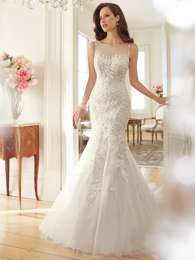 Sophia Tolli Wedding Dress satin lace mermaid trumpet ball gown ...