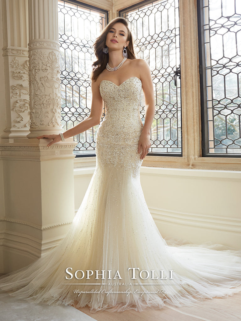 Sophia Tolli Wedding Dress satin lace mermaid trumpet gown – Bela Bridal