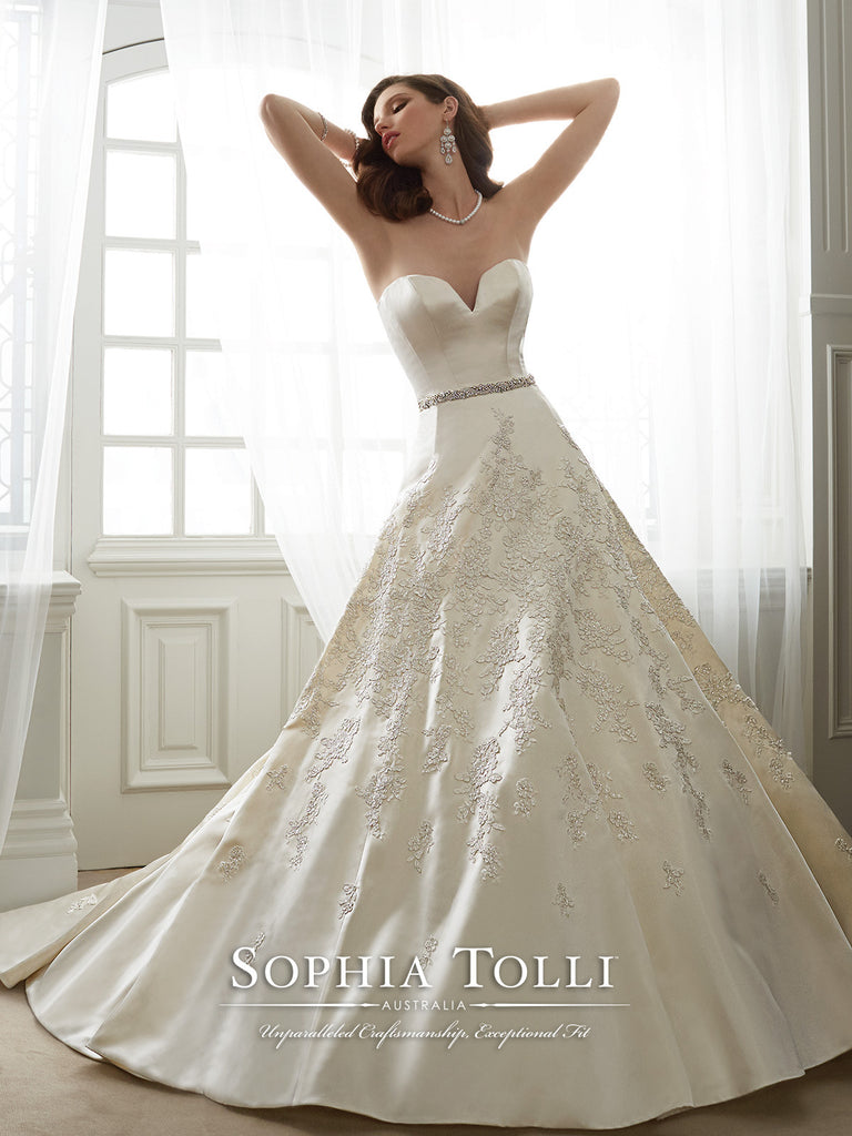 Sophia Tolli Wedding Dress satin lace, A-line ball gown