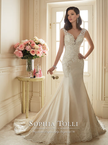Sophia Tolli Off-the-Sholder Satin Mermaid Wedding Gown