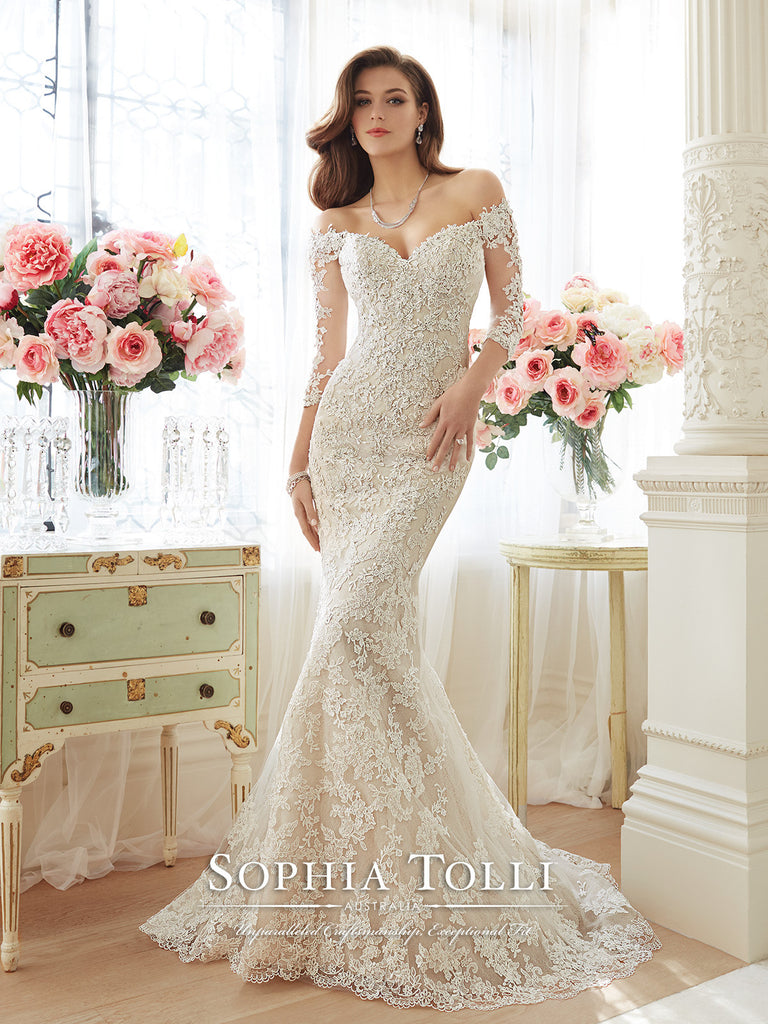 Sophia Tolli Off-the-Sholder Lace and Tulle Trumpet  Wedding Gown