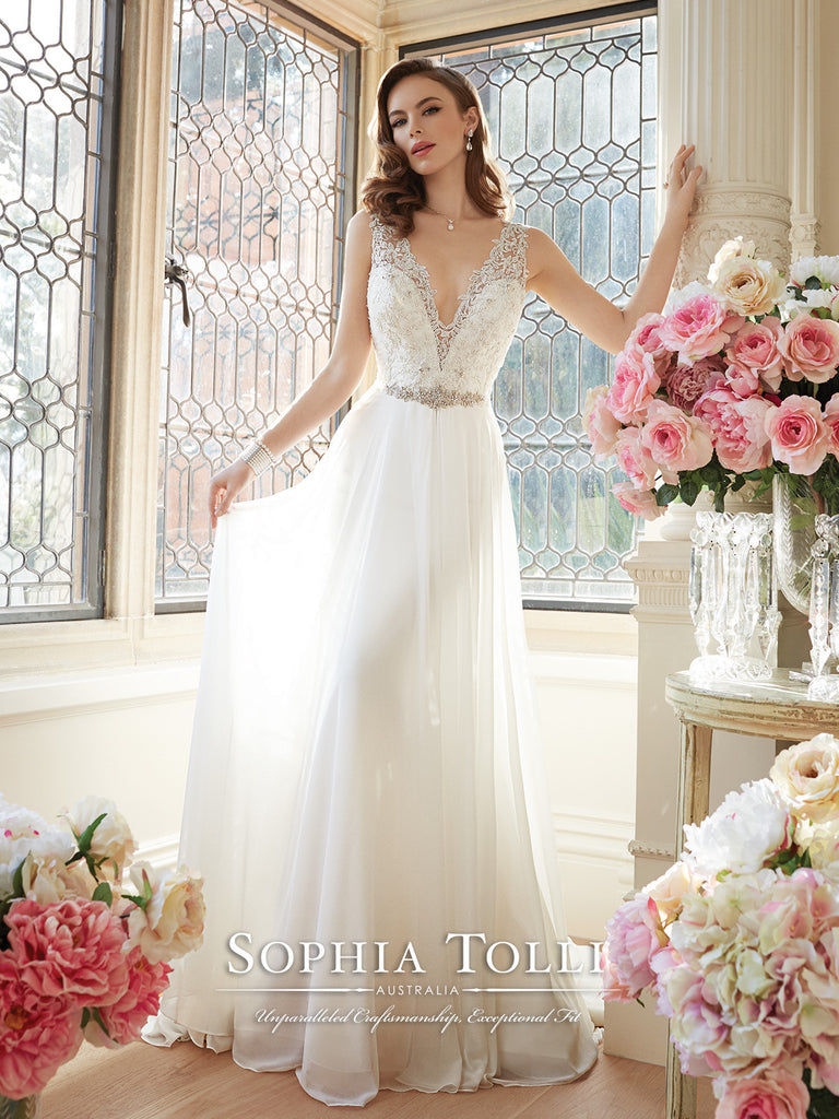Sophia Tolli Sleeveless Chiffon Slim A-Line Wedding Gown – Bela Bridal