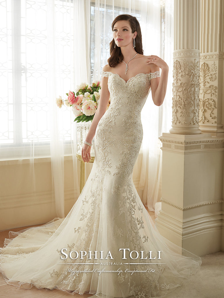 Sophia Tolli Off the Sholder Tulle allover Lace Trumpet Wedding Gown