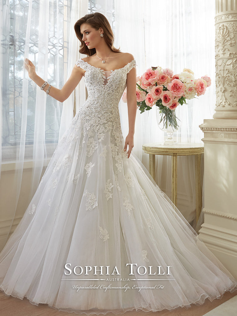 Sophia Tolli Wedding Dress satin lace mermaid trumpet ball gown