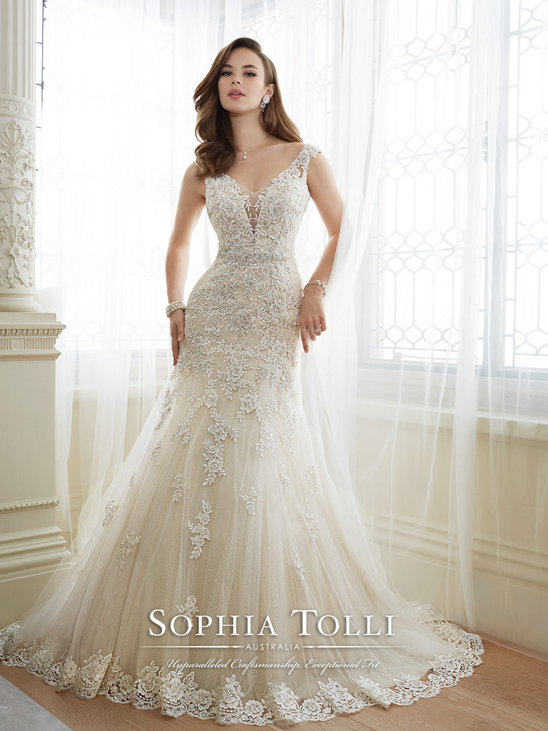 Sophia Tolli Wedding Dress satin lace mermaid trumpet gown