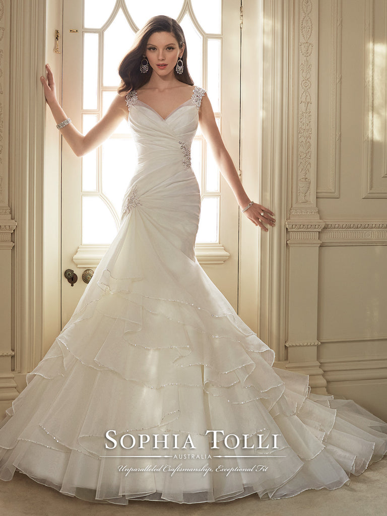 Sophia Tolli Wedding Dress organza lace mermaid trumpet ball gown