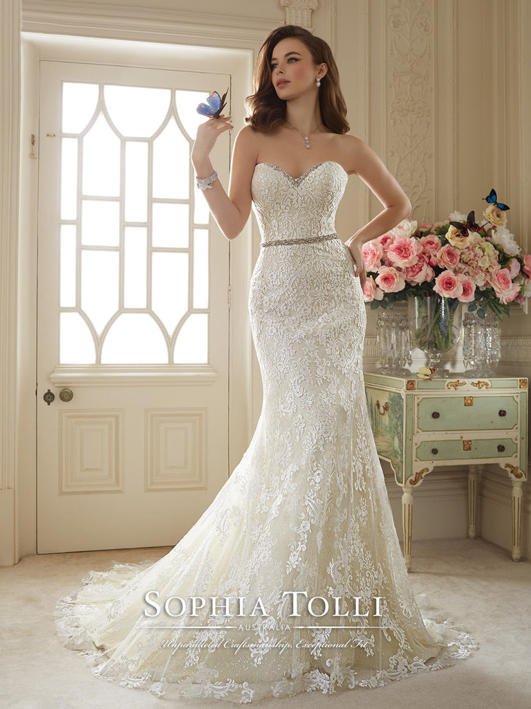 Sophia Tolli Wedding Dress Tulle All Over Lace Mermaid Trumpet