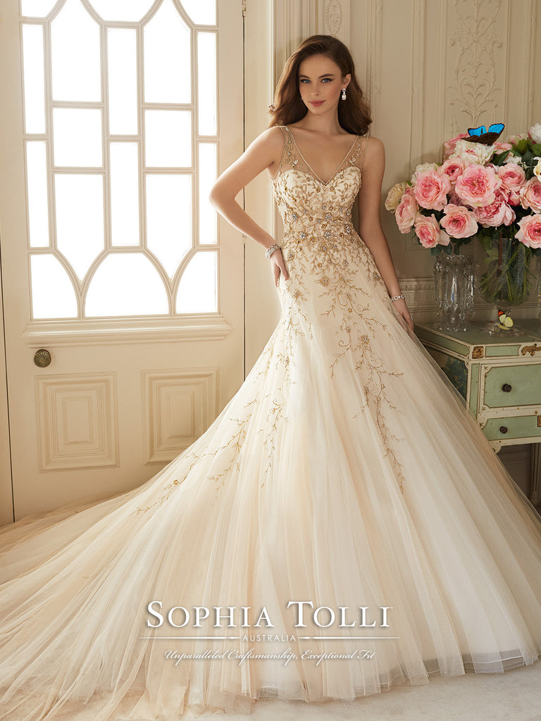 Sophia Tolli Wedding Dress tulle lace A-line