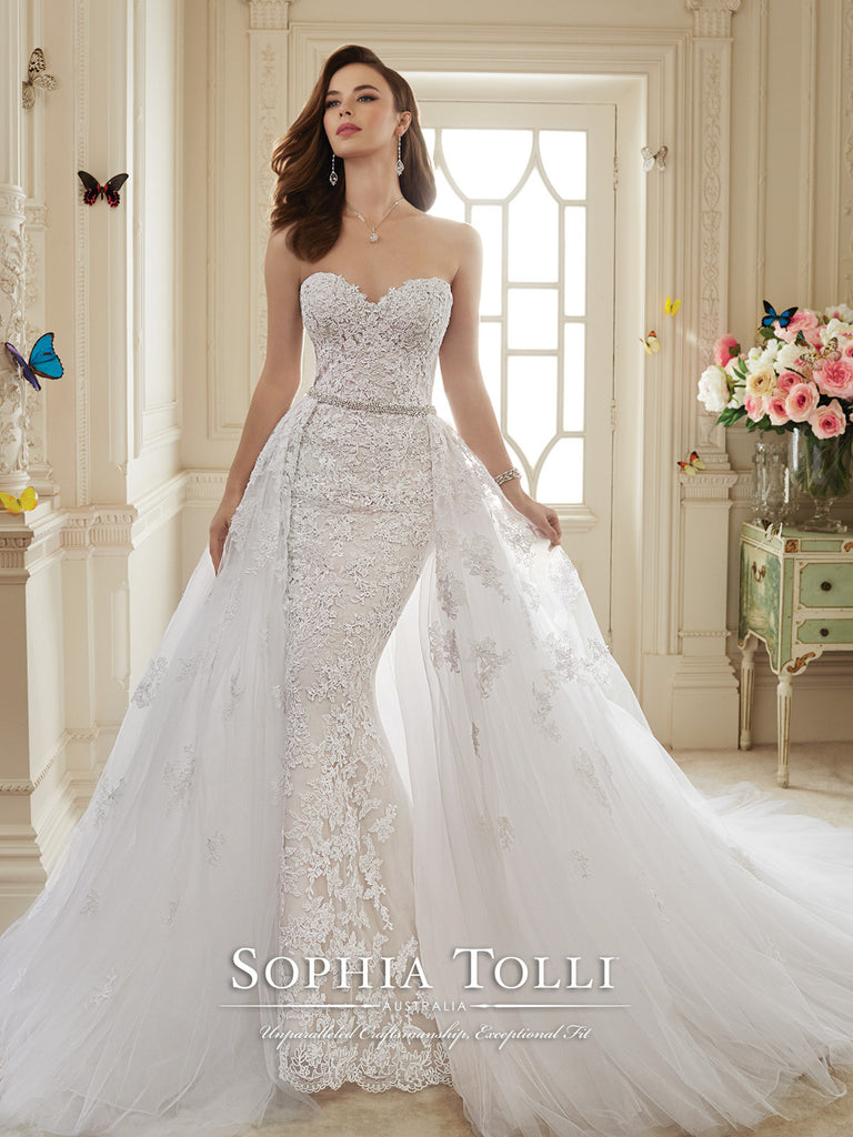 Sophia Tolli Two-piece Wedding Dress tulle lace mermaid trumpet – Bela  Bridal d682d7614