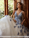Sophia Tolli sleeveless light tulle over sparkling sequin full A-line wedding gown